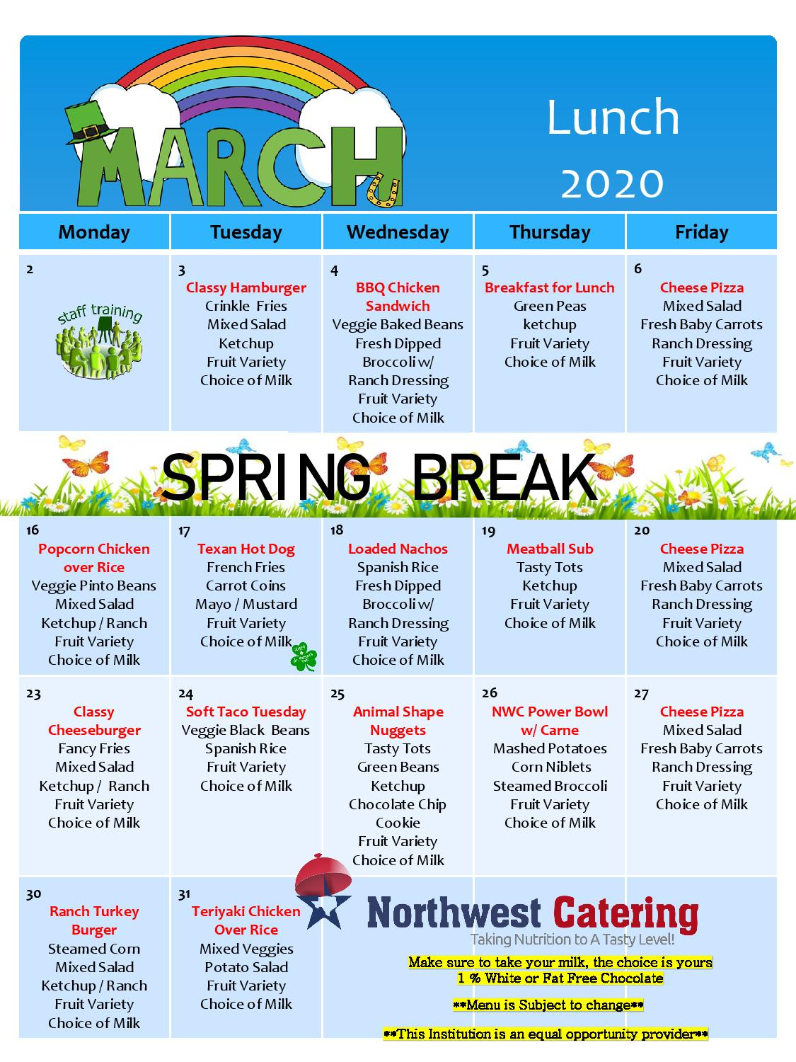 March Lunch Menu 2020